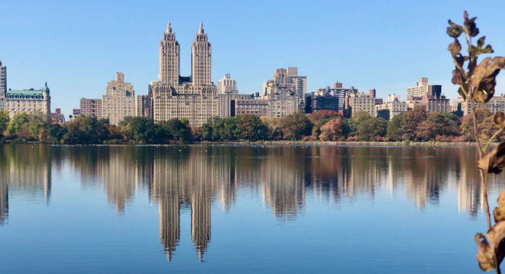 picture of buildings reflecting in central park lake